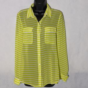 Old Navy Yellow Stripped Chiffon Top